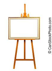 caballete, Pintura, marco
