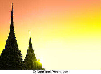 Bangkok - Silhouettes of stupas with copyspace, Bangkok,...