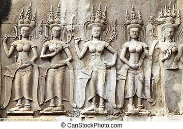 Khmer carving in Angkor - Apsaras - khmer stone carving in...