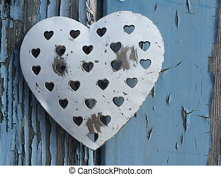 Shabby Chic Heart - Shabby Chic Metal Heart on wooden grunge...