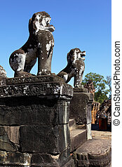Lions near Pre Rup temple, Angkor, Cambodia