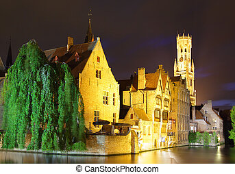 Bruges - Night view canal and houses at Bruges, Belgium