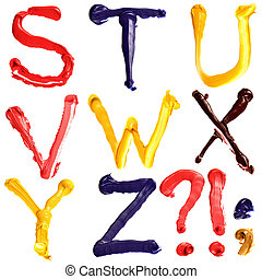 Colorful alphabet - Colorful oil painted alphabet, Letters S...