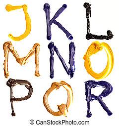 Colorful alphabet - Colorful oil painted alphabet, Letters J...