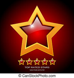Review rating stars, vector illustration