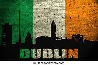 View of Dublin on the Grunge Irish Flag