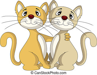 cute ouple cat in friendship - vector illustration of cute...
