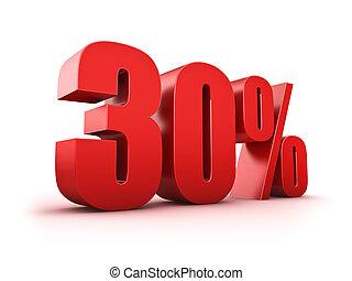 30 percent - 3D Rendering of a thirty percent symbol