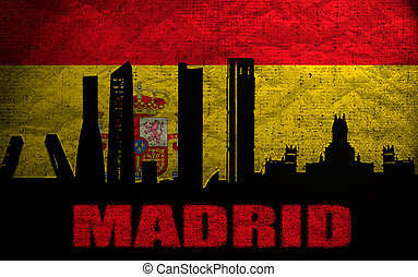 View of Madrid on the Grunge Spanish Flag