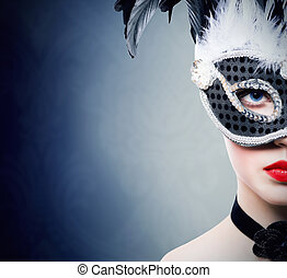 Beautiful girl in black carnival mask - Beautiful young...