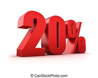 20 percent - 3D Rendering of a twenty percent symbol
