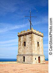 Castle of Montjuic - Big tower of Castle of Montjuic,...