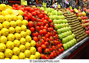 Fruit market - Market stall with various fruts close up