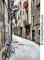Barcelona Barri Gotic - Narrow street at Barcelona Barri...
