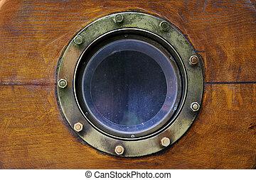Porthole - Old boat porthole close-up