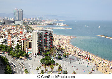 Barceloneta - View to Barceloneta district and beach,...