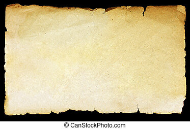 Vintage texture old paper background isolated on black.