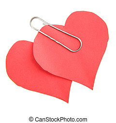 Two paper red hearts - Two paper hearts isolated over the...