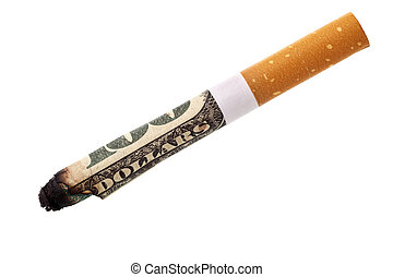 Expenditure for smoking - cigarette butt isolated over white...