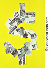 Lacerated dollar - Lacerated banknote looking as dollar sign