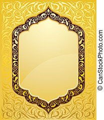 elegant islamic template design in gold background. Ideal...