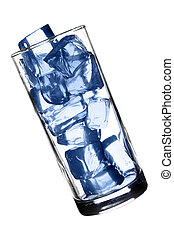 Glass with ice isolated over white background