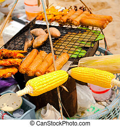 Traditional Thai food at small market on beach