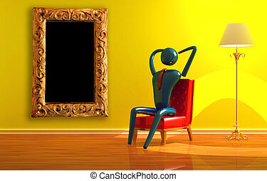 Person relaxing in yellow interior - Person relaxing in...