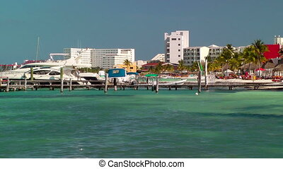 Resort Skyline in Cancun - Resort skyline and beach in...