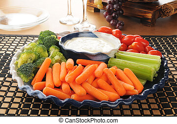 Vegetable tray - A party tray with carrots, celery,...