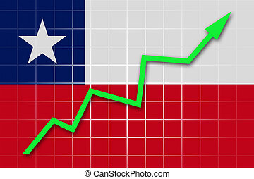 The Chile flag and arrow graph going up