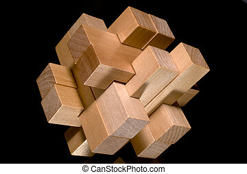 Building blocks forming a challenging puzzle isolated on a...