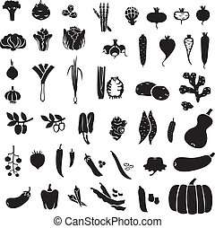 Vegetables set - Set of silhouette images of different...