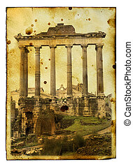 Rome - Vintage postcard (imitation) with ruins of Roman...