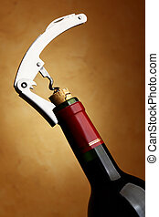 Bottle with cork-screw - Cork-screw opening wine bottle over...