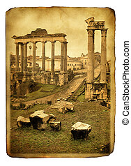 Roman forum - Vintage postcard imitation with ruins of Roman...