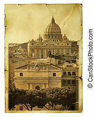 Basilica di San Pietro, Vatican - Vintage postcard imitation...