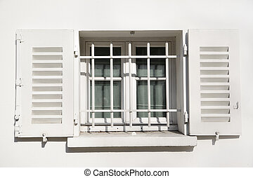 Window with jalousie - Window of old house with jalousie....