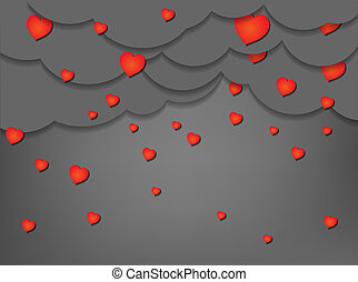 Paper cut raining hearts