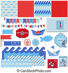 Scrapbook Design Elements - Nautical Sea Theme - for...