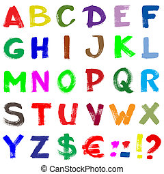 Colorful hand-written alphabet isolated over white...