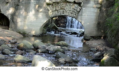 water flow mill arch - stream brook water flow run between...