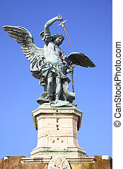 Saint Michael statue on the top of Castel Sant Angelo in...