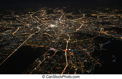 Moscow - Aerial view of Moscow at night