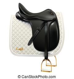 Dressage saddle - Black leather dressage saddle with white...