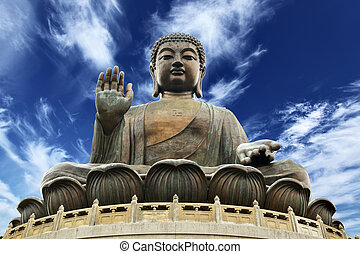 Giant Buddha sitting on lotusl. Hong Kong
