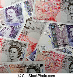British high value pound notes - An arrangement of high...