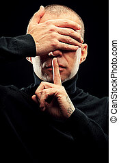 top secret - Close-up portrait of a man with closed eyes and...