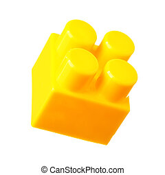 Yellow building block of meccano isolated over the white...