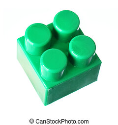 Green block of meccano isolated over the white background